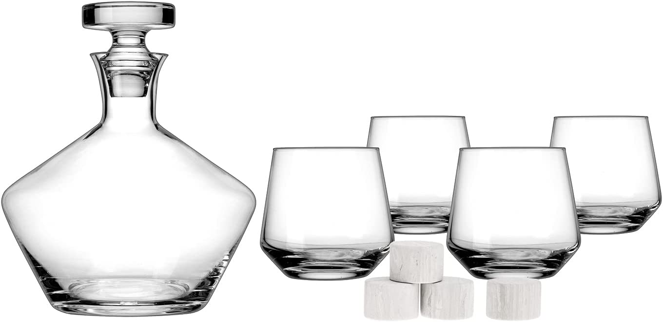 Whiskey Decanter Glasses and Stone Liquor Bourb San Jose Mall Free shipping anywhere in the nation Scotch for Set