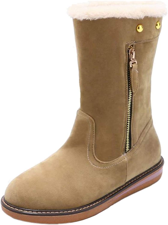 Smilice Women Mid-Calf Flat Boots
