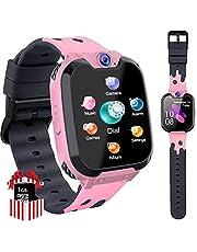 PTHTECHUS Kids Game Smart Horloge Telefoon, HD Touchscreen Pols Smartwatch voor 3-12 Jaar Oude Jongens Meisjes met Camera muziekspeler Wekker 7 soorten Games Mobiele Simkaart Speelgoed Kinderen Gift Roze