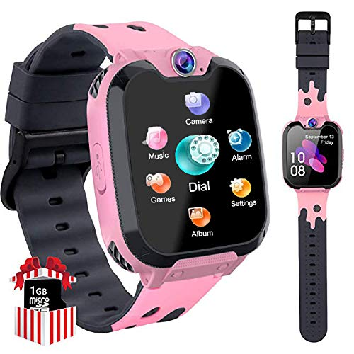 PTHTECHUS Kinder Smartwatch Telefon - Smartwatch Kinder Uhr Telefon Anruf Mit SOS Schrittzähler Videorecorder Taschenlampe MP3-Musik 7 Spiele Wecker, Geschenke für Mädchen von 6-10 Jahren (H9-PINK)