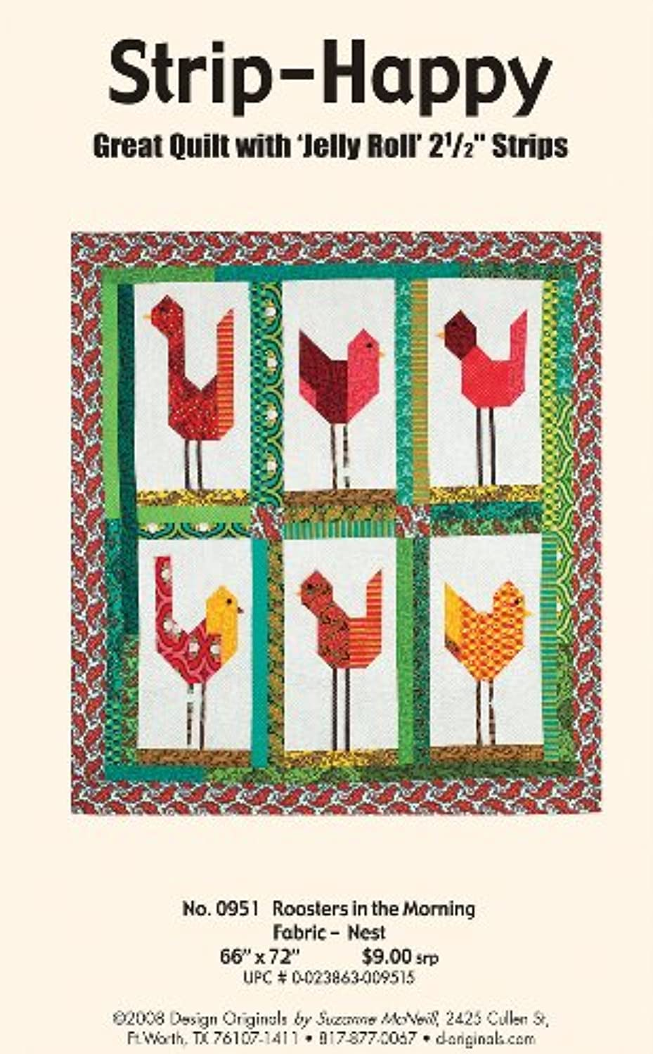 Design Originals DO951 Roosters in The Morning Quilting Template