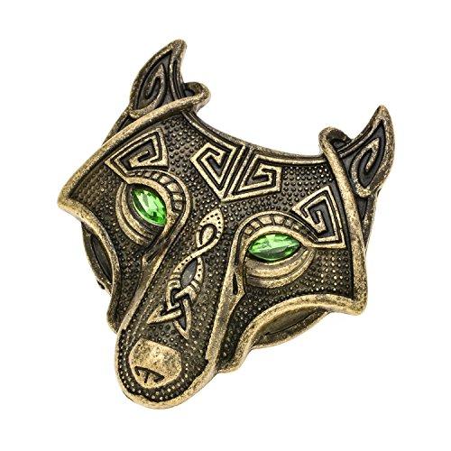 W WOOGGE Viking Norse Wolf Head Brooch Pin Green Eye Gothic Pendant Irish Viking Penannular Clothes Fasteners Scarf Lapel Pin