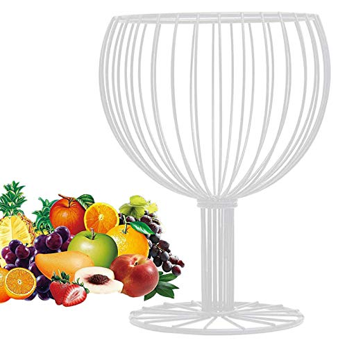 Canasta de Frutas Tazón de Verduras como una Copa de Vino,Artesanías de Hierro geométrico Hogar Sala de Estar Almacenamiento Merienda Contenedor de Frutas Blanco