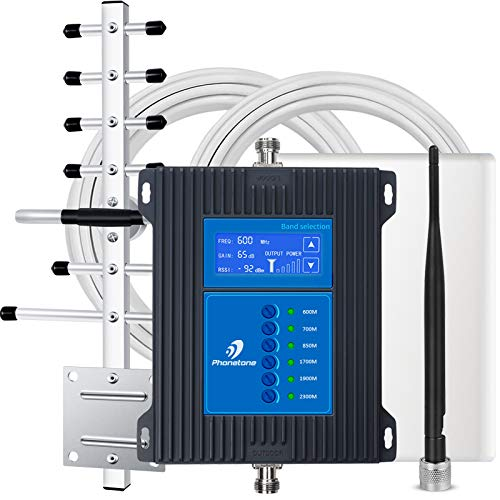 5G 7-Band Cell Phone Signal Booster for Home Office and Cabin - Mobile Cellular Repeater Kit Boosts All Carriers 5G 4G LTE 3G for Multiple Users Up to 5,000Sq Ft.