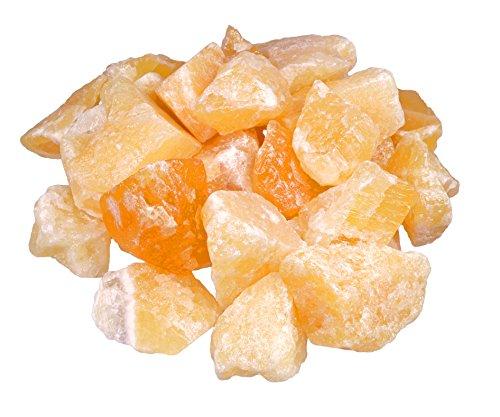 Piedras de agua sin tratar, calcita naranja, 100% natural, 300 g