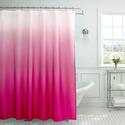 Creative Home Ideas Ombre strukturierter Duschvorhang mit Perlenringen, Fuchsia