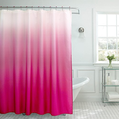 Creative Home Ideen Ombre Waffelmuster Dusche Vorhang mit Metall Roller Ringe Casual Fuchsia