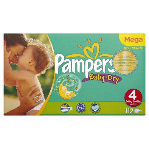 Pampers Windeln Baby Dry Gr.4 Maxi 7-18kg Megapack, 112 Stück