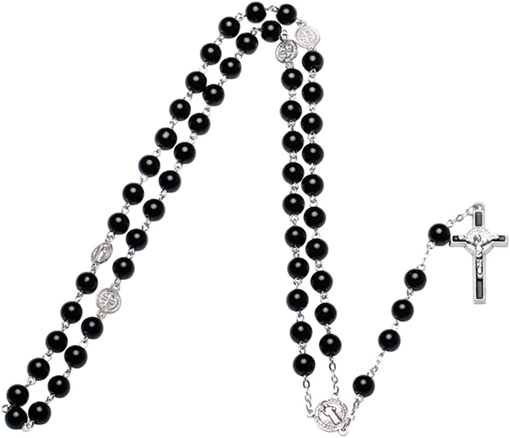BUZHI Rosary Necklace -Black Glass Beads Rosary Necklace,Cross Religious Necklace Catholic Rosary Necklace Church Prayer Beads Pendant Necklace