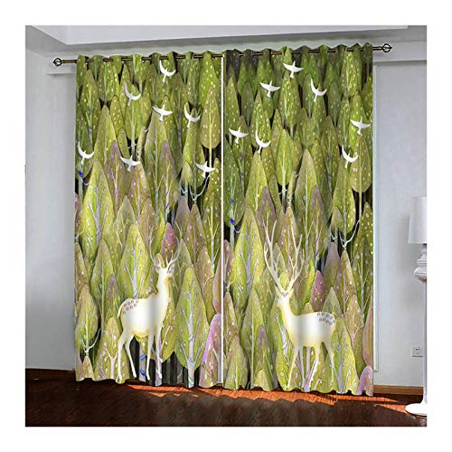 ANAZOZ 2 Cortinas Opacas Cortina Poliester Exterior Bosque Árbol con Pájaro Verde Cortinas Ventana Tamaño 264x183CM