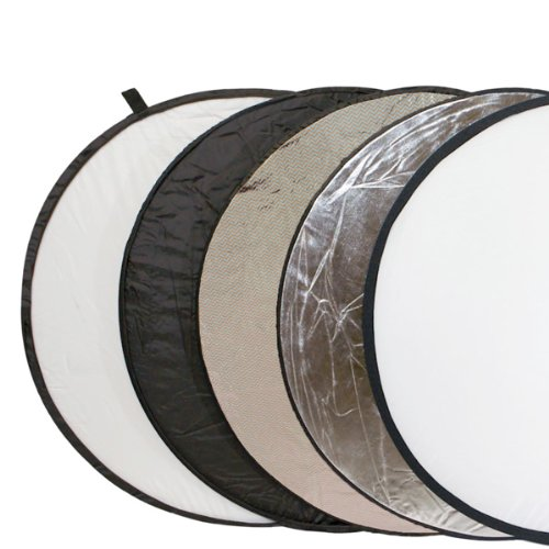 Delamax 5in1 Faltreflektor spezial 107cm Durchmesser - silber/weiß und schwarz/gold-silber und Diffusor - mit spezieller gold/silber-Fläche