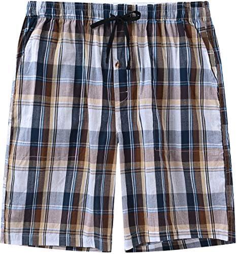 MoFiz Mens Sleepwear Shorts Pajama Bottom Lounge Short Plaid Button Open Fly 3Pack