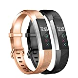 "Wekin Silicone Sport Bands Compatible for Alta and Alta HR Fitness Tracker, Breathable Accessory Bracelet Strap Wristband for Women Men (Small(5.5""-6.7""), Rose Gold/Black) wristband tracker Mar, 2021"