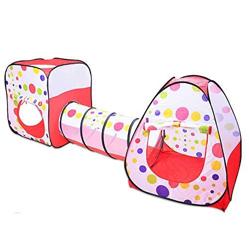 Tienda De Juegos para Niños 3 En 1,Casa del Juguete De La Casa del Juego De Los Niños,Túnel, Parque Infantil, Carpa Cohete Emergente para Niños,con Bolsa De Almacenamiento con Cremallera