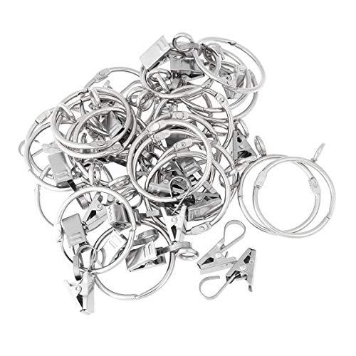 VORCOOL 24 Stück Vorhangringe mit Clips Haken Metall Gardinenringe zum Öffnen und Schließen für Vorhänge Fotos Dekoration (Silber)
