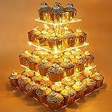 FADDARE Supporto per Cupcake, 4 Livelli, in Acrilico, per Torte, Quadrato, con luci LED per la Festa di Nozze (Luce Calda 0), Not Null, Trasparente, Taglia Unica