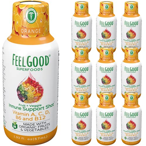 Feelgood Superfoods 26 Fruits and Veggies Immune Support Shot Supplements, Orange Flavor, Pack of 10