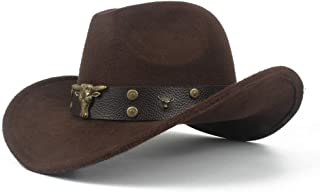 XueQing Pan Men Women Wool Western Cowboy Hat With Cow Head Leather Band Sombrero Hat Winter Outdoor Fascinator Hat Size 56-58CM