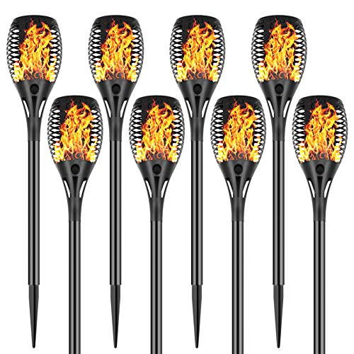 Permande Solar Torch Lights with Flickering Flame, Fire Effect Garden Light, Auto On/Off Dust to Dawn, Outdoor Waterproof Landscape Decoration, Solar Powered Security Torch Light for Patio, 8 Pack