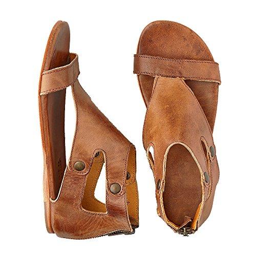 LAICIGO Womens Sandals Flat Ankle Buckle Gladiator Thong Flip Flop Casual Summer Shoes (36 EU- 23cm (Foot Length) - 6US, Brown)