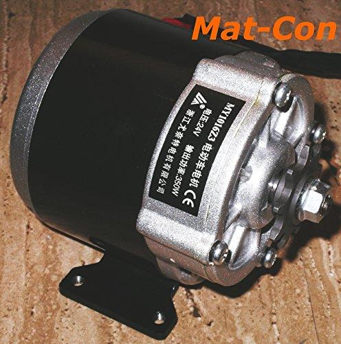 Getriebemotor 24V / 36V 350W 10,8Nm 330U/min, MY1016Z3, mit Montagefuß, Stirnradgetriebe E-Motor, Ritzel 1/2