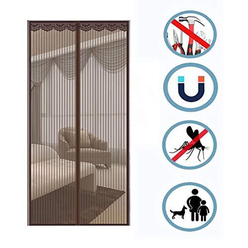 Magnetisch vliegengaas van uitstekende kwaliteit, compleet magnetisch, voor deuren en voordeuren, van wol van glas, ademend, beschermt tegen insecten. 140x220cm(55x87inch) G