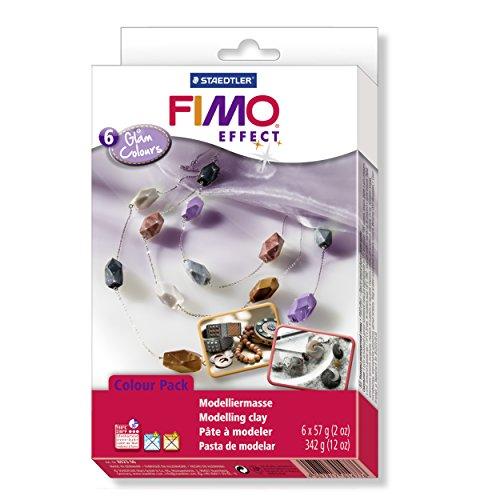Staedtler 8023 06 - Fimo soft Materialpackung Glam Colours, 6 Blöcke,