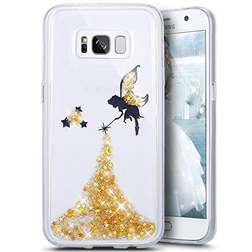 JAWSEU Kompatibel mit Samsung Galaxy S8 Hülle Glitzer Schutzhülle Silikon Hülle Glänzend Kristall Schmetterling Crystal Clear Transparent Handyhülle TPU Silikon Backcover Case Tasche Hülle,Gelb