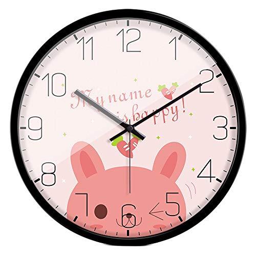 BGROEST Reloj de Pared de Color cálido oscilador de Cristal Activo Reloj indicador Alta Permeabilidad al Gas Reloj de Pared de Color Agujas precisas Reloj de Cobre Color Duradero U-10 (Pink Rabbit)