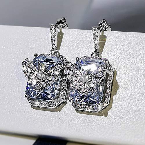 BAJIE Earring Exquisite S925 Sterling Silver Diamond Drop Earrings Women'S 925 Silver Jewelry Garnet Earrings Box