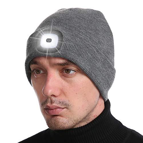 Deilin LED Mütze mit Licht, Beleuchtete Mütze Aufladbar USB für Männer und Frauen, Einstellbare Helligkeit Stirnlampe Winter Beanie Mütze mit Licht, Unisex Winter Wärmer Strickmütze mit Licht