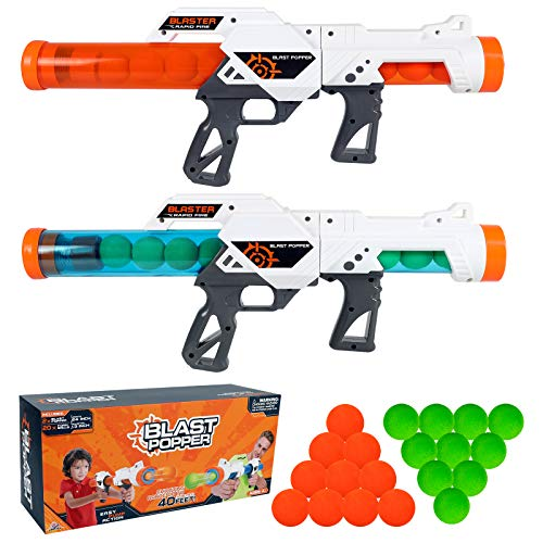 EP EXERCISE N PLAY 2 Pack Power Blast Popper Gun with 20 Pcs EVA Foam Balls, Toy Ball Guns for Kids 2-Player Air Powered Dual Battle Target Shooting Games Indoor Outdoor Role Playing