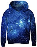 Child All Over Double Side Printed Hoodie Students Boys Girls 3D Graphic Shiny Starry Night Pullover Long Sleeve Crewneck Fleece Sweatshirt for School Sports Skiing Skating Camping 5y 6y