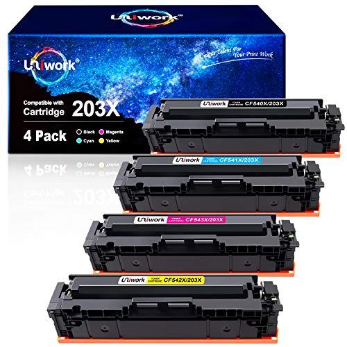 Uniwork 203X tonercartridges compatibel voor HP 203X CF540X 203A CF540A voor HP Color Laserjet Pro MFP M281fdw-M254dw-MFP-M280nw-MFP-M281fdn-M254nw-M254dn-M281cdw (cyaan, magenta geel, 4 stuks)