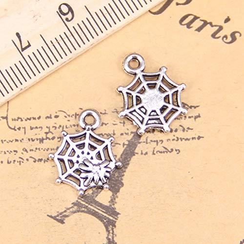 LKJHG 28pcs encantos telaraña de araña 17x14 mm Colgantes Antiguos, joyería de Plata, Bricolaje para Collar de Pulsera