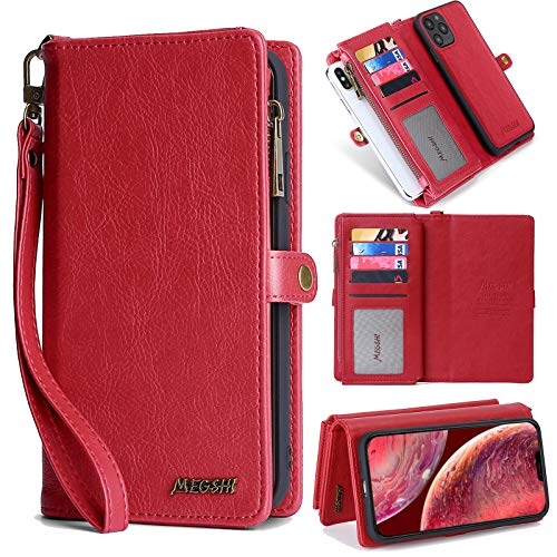 "Wallet Case for iPhone 12/12 Pro, eVord 2 in 1 Leather Detachable Magnetic Wallet Folio Flip Credit Card Slots Removable Slim Cover for iPhone 12/12 Pro 6.1"" with Wrist Strap - Red"