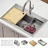 Kraus KWT300-32 Kore Workstation 32-inch Drop-In or Undermount Single Bowl Kitchen Sink with...