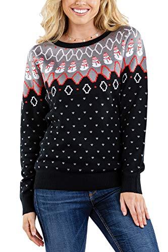 Women's Swooping Snowman Sweater - Snowman Pattern Christmas Sweater: L Black