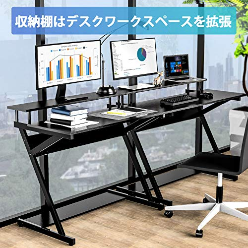 FITUEYESパソコンデスクゲーミングデスクPCデスク卓上ラック付き幅100cm×奥行60cm×高84cmブラックCD310001WB
