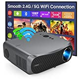 """Full HD 1080P Projector 5G WiFi Bluetooth Projector Support 4K, 7200 Lumen 200"""" Display with Android OS 4D/±50°Keystone & Zoom LED LCD Indoor Outdoor Projector for USB Phone PC PS4/5 TV Stick Tablet"""