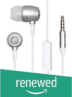 (Renewed) Motorola Metal Headphones (Silver)
