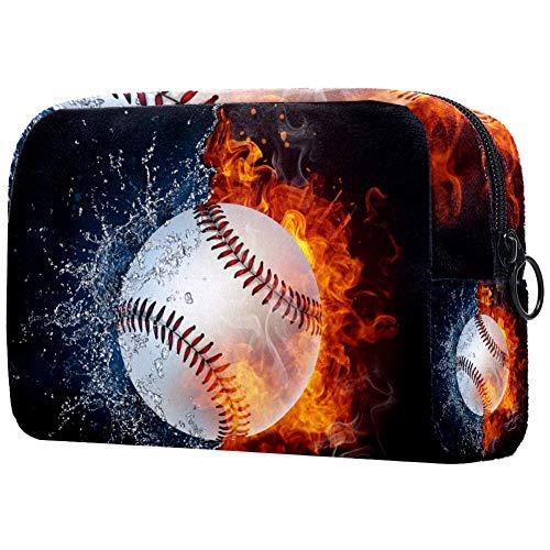 Baseball-Ball in Feuer und Wasser große Reise-Kosmetiktasche für Frauen – Reise-Kulturbeutel und Kosmetiktasche mit vielen Taschen