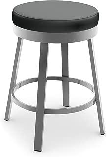 Amisco Clock Swivel Metal Barstool, 30-Inch, Grey Metal and Mat Charcoal Black Polyurethane