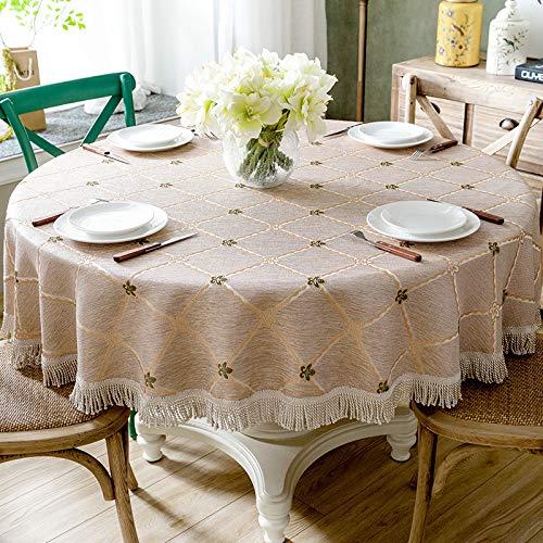Generic Tischdecke runde Tischdecke Blatt Bestickt Hochzeit zu Hause Tischdecke Baumwolle Leinen Tischdecke und Quaste