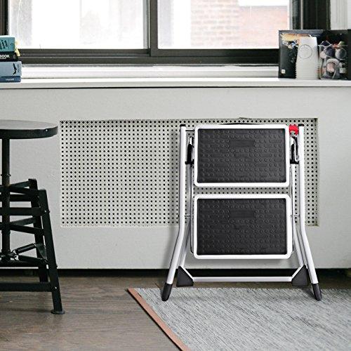 Delxo 2 Step Stool Stepladders Lightweight White Folding Step Ladder with Handgrip Anti-Slip Sturdy and Wide Pedal Steel Ladder Mini-Stool 250lbs 2-Feet