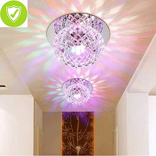 5W LED Moderne Flush Mount Verlichting Plafond En Wandlamp Spots Kristal Ronde Plafond Lamp Voor Vestibule, Hal Ø 12CM [Energie Klasse A+]