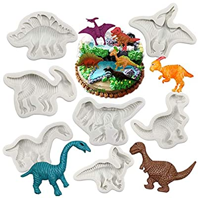 Dinosaur Fondant Molds Silicone- Yawooya Large Size Dino Dinosaur Party Mold 7 Set for Cake Decoration/Resin/Cupacke Toppers/Cookie Pop/Candy/Gum Paste/Polymer Clay