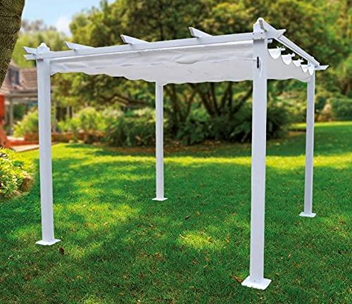 Pabellon, Cenador, Pergola de Aluminio 3x3 m Blanca Exterior para jardín, Marco de Aluminio