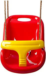 Baby and Toddler Swing Seat, Hammock Chair with Hanging Ropes, Swing Hanging Straps, Carabiner Hooks, Load Capacity 60Kg, Plastic Seat,Red