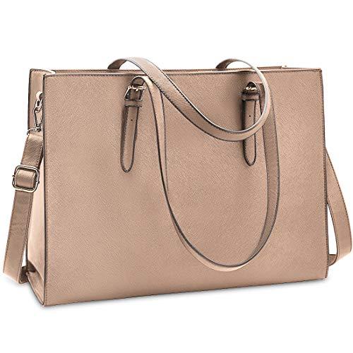 Laptop Bags for Women 15.6 inch Large Leather Tote Bag Ladies Laptop Handbag Computer School Shoulder Bag Business Work Bag (Khaki)